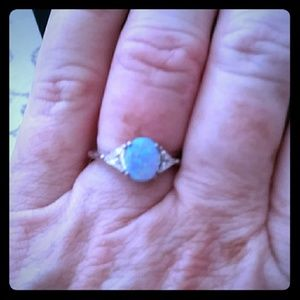 Avon Sterling Silver Opalesque and CZ ring